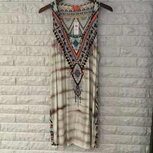 Beautiful beaded tie dye + tribal jersey dress